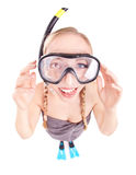 Funny woman in snorkeling gear Stock Photo