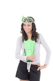 Funny woman in snorkeling gear, isolated studio Royalty Free Stock Photos