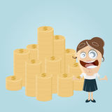 Funny woman with stack of money Royalty Free Stock Image