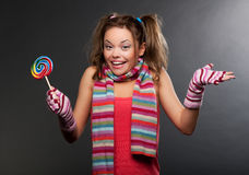 Funny woman in striped scarf Stock Image