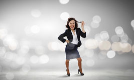Funny woman in suit Royalty Free Stock Images