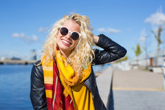 Funny woman with sun glasses Stock Photo