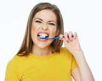 Funny woman with toothy brush. 