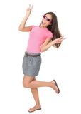 Funny Woman Victory Hand Sign Royalty Free Stock Images