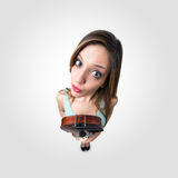 Funny woman with violin Royalty Free Stock Image