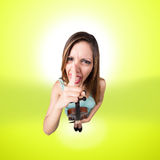 Funny woman with violin say shut up Royalty Free Stock Photos