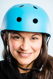 Funny woman wearing cycling helmet portrait real people high definition Royalty Free Stock Photography