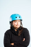 Funny woman wearing cycling helmet portrait real people high definition Royalty Free Stock Image