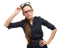 Funny woman wearing glasses royalty free stock photos