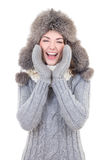 Funny woman in winter clothes screaming Stock Photo