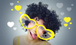Funny women. Funny woman sticking out here tongue royalty free stock images