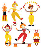 Funny women clowns in various poses Stock Images