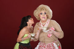 Funny Women With Teacups Stock Images