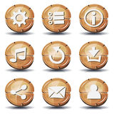 Funny Wood Icons And Buttons For Ui Game Royalty Free Stock Photos