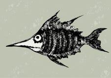 Funny woodcut fish  illustration. Funny woodcut fish black and white  illustration Stock Photo