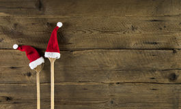 Funny wooden christmas background for a menu card with wooden sp Stock Photos