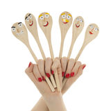 Funny wooden spoons Royalty Free Stock Photo