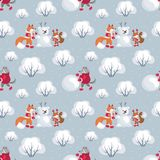 Funny woodland pattern. Children`s seamless pattern with the image of funny woodland animals and snowmen. Vector background Royalty Free Stock Photography