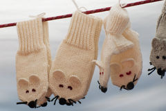Funny wool mittens hanging on clothesline. Wool baby mittens hanging on clothesline Royalty Free Stock Photo