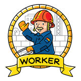 Funny worker. Emblem. Profession ABC series Stock Images