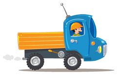 Funny worker in small nice truck Royalty Free Stock Image