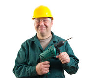 Funny workman with a drill Royalty Free Stock Photography