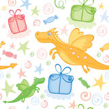 Funny wrapping with Dragon. Illustration, background -- Funny wrapping with Dragon Royalty Free Stock Image