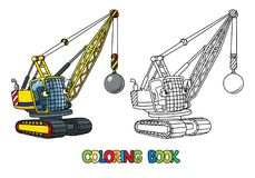 Funny wrecking ball truck with eyes. Coloring book. Wrecking ball truck or crane coloring book for kids. Small funny vector cute car with eyes and mouth Stock Photo