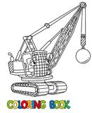 Funny wrecking ball truck with eyes. Coloring book Royalty Free Stock Image