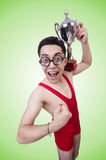 Funny wrestler with winners cup Royalty Free Stock Images