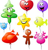 Funny xmas colorful balloons Royalty Free Stock Photography