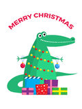Funny Xmas crocodile Stock Images