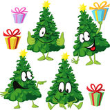 Funny xmas tree with hand and face - vector illustration drawing Royalty Free Stock Photography