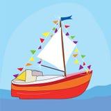 Funny yacht at the sea. Cartoon Stock Image