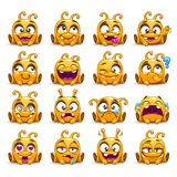 Funny yellow alien character emoticons set. Funny cartoon yellow alien character emoticons set,  on white, vector emotions stickers Stock Photo