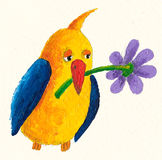 Funny yellow-blue bird with flover. Acrylic illustration of Funny yellow-blue bird with flover Stock Photo