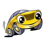 Funny yellow car. The cartoon car with smile Royalty Free Stock Photography
