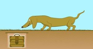 Funny yellow cartoon dachshund. Royalty Free Stock Photo