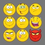 Funny Yellow Cartoon Emoji Face Series Character Set 2. Collection Royalty Free Stock Photos