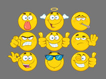 Funny Yellow Cartoon Emoji Face Series Character Set 3. Collection Royalty Free Stock Photo