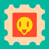 Funny yellow cartoon face with open mouth illustration Royalty Free Stock Images