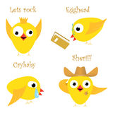 Funny yellow chicken. Fan, nerd, crybaby and sheriff Royalty Free Stock Photos