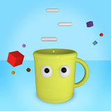 funny yellow cup stock illustration