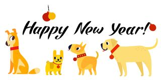 Funny yellow dogs symbol of year 2018. Flat style,  illustration isolated on a white background. Happy New Year lettering Royalty Free Stock Images