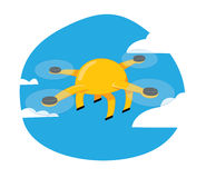 Funny yellow drone flying on a blue sky background Royalty Free Stock Photos