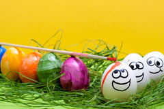 Funny yellow easter background Royalty Free Stock Photo