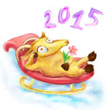 Funny yellow goat and sled. Funny thoughtful goat with a flower, a symbol of 2015, riding with a snow hill on a sled Royalty Free Illustration