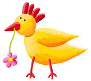 Funny yellow hen Stock Images
