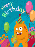 Funny yellow monster with gifts and balloons. Postcard. Happy Birthday. Vector. Illustration Royalty Free Stock Images