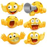 Funny yellow smiley face emoticon cartoon characters set vector illustration